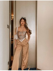 Denille Satin Pants in Brown