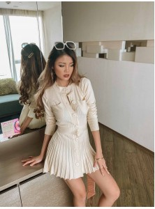 Ashby Knit Skater Dress in Beige