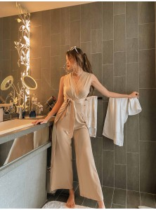 Amancio Wrap Satin Jumpsuit in Champagne