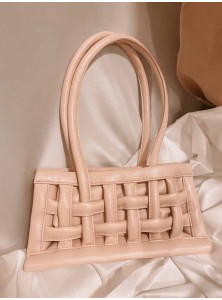 Liliane Weaved Bag in Pastel Pink