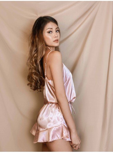 Cecily Cami & Frill Shorts Set in Pink