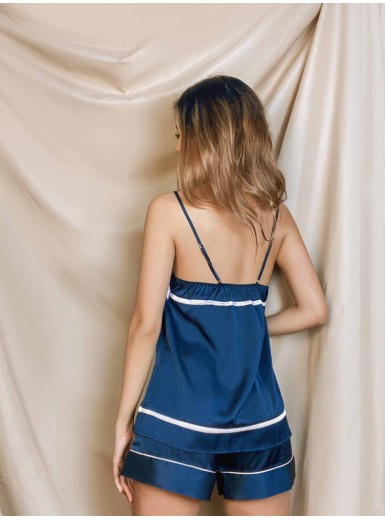 Nalani Lined Cami & Shorts Set in Prussian Blue
