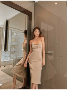 Calais Satin Slip Dress in Champagne