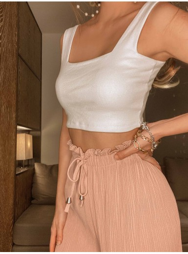 Akio Square Neck Cropped Top in White