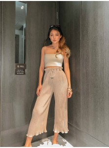 Willa Pleated Pants in Nude