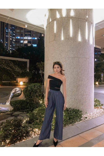 Bella Pleated Satin Pants in Charcoal Grey