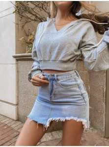 Kaida Frayed Denim Skirt