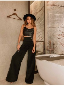 Jacquel Satin Top Co-ord Pants Set in Black