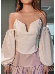 Pipere Cold Shoulder Top in Cream