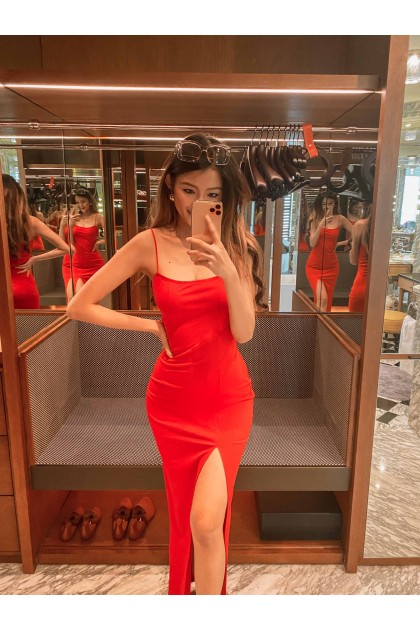 Zabryna Thigh Slit Maxi Dress in Candy Red