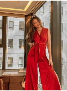 Amancio Wrap Satin Jumpsuit in Red