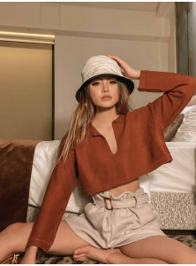 Tinsley Oversized Knit Top in Cinnamon Brown