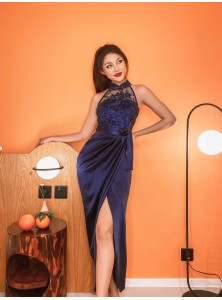 Alexi Wrap Maxi Cheongsam in Navy