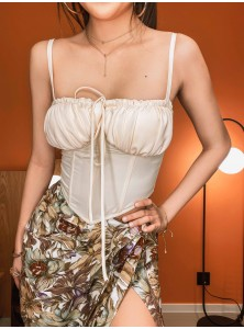 Kaia Ruched Bust Corset in Cream