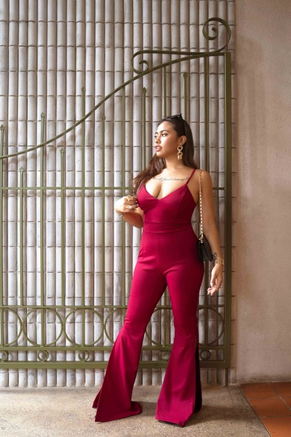 Calliope Bodycon Jumpsuit in Red