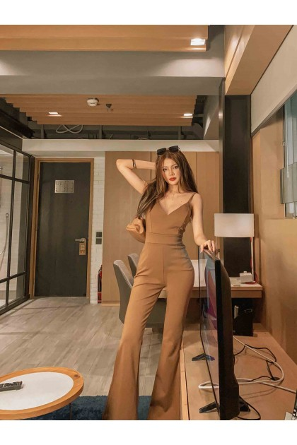 Calliope Bodycon Jumpsuit in Brown