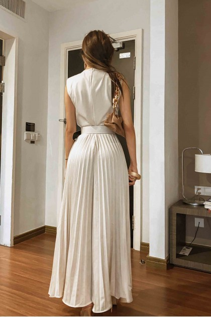 Lacey Pleated Flared Jumpsuit