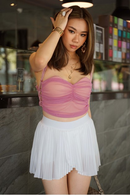 Chyvone Lace-up Mesh Top in Pink