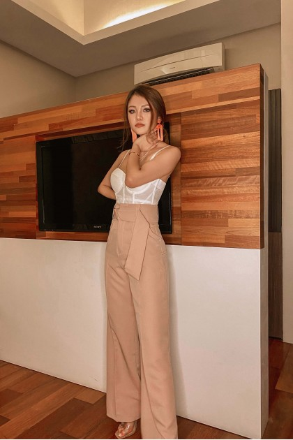 Remo Bow Highwaisted Pants in Pink