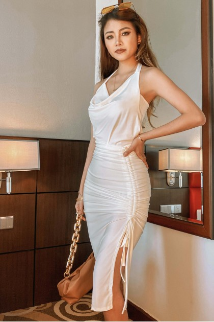 Dayna Ruched Skirt in White