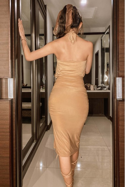 Dayna Ruched Skirt in Nude