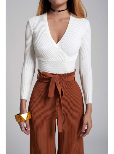 Leilani Knit Wrap Top in White