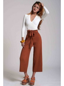 Petunia Pleated Culottes in Siena Brown