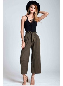 Petunia Pleated Culottes in Army Green