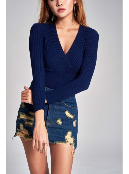 Leilani Wrap Knit Top In Navy