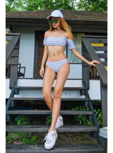 Anhea Striped Off Shoulder Bikini Set