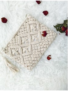 Ikiiki Hand-Woven Clutch in White