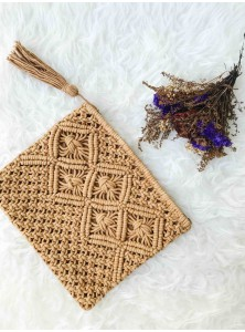 Ikiiki Hand-Woven Clutch in Tan