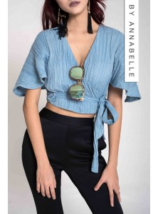 Kashe Denim Wrap Top