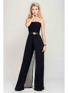Elisha Chiffon Jumpsuit in Black (Backorder)