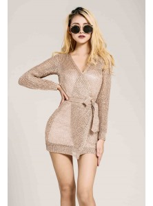 Dolce Knit Wrap Dress in Rose Gold