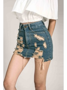 Geri Ripped Denim Skorts in Mid Wash (Size M on Backorder)