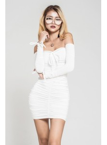 Mindy Off Shoulder Dress in White