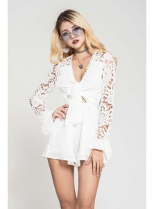 Perla Lace-Sleeved Playsuit in White