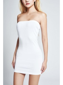 Kell Bandeau Slip Dress in White